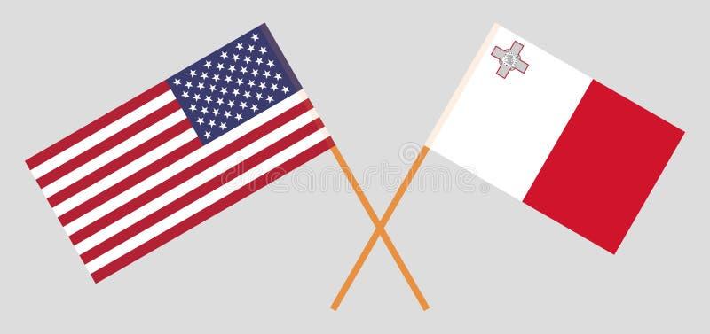马耳他和美国 马尔他和美国旗子 E r ?? 向量例证