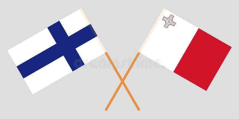 马耳他和芬兰 马尔他和芬兰旗子 E r ?? 向量例证