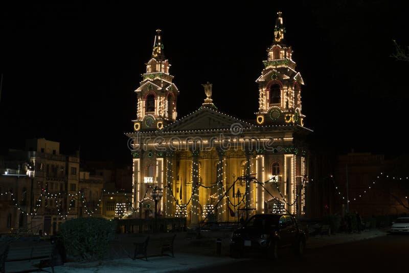 马耳他圣普布利乌斯天主教会 库存照片