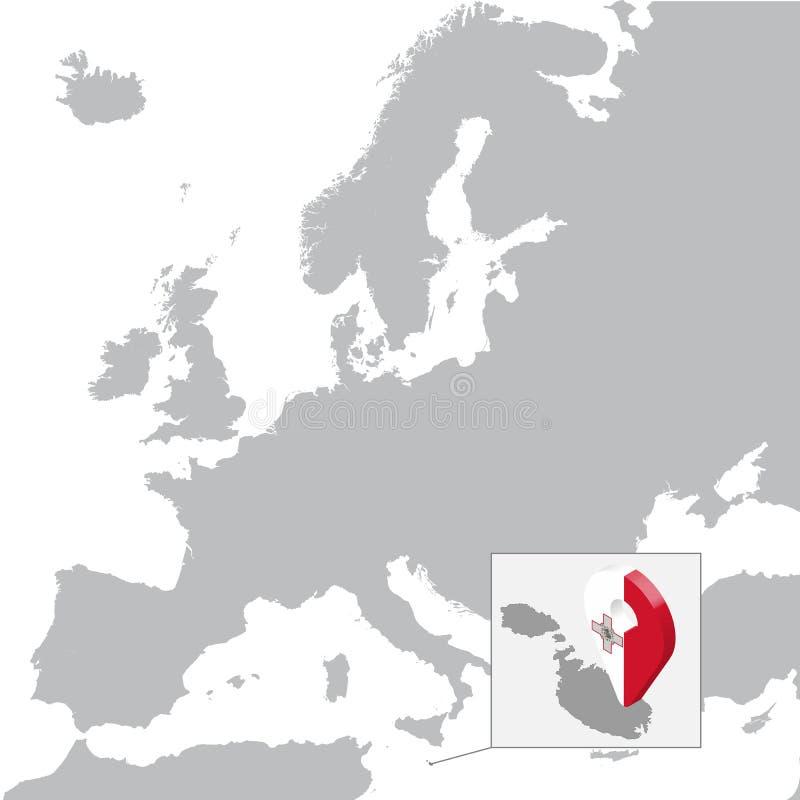 马耳他在地图欧洲的定位图 3d马耳他旗子地图标志地点别针 马耳他优质地图  皇族释放例证