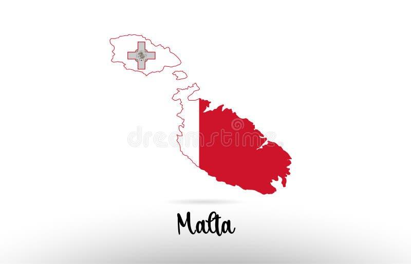 马耳他在地图等高设计象商标里面的国旗 库存例证