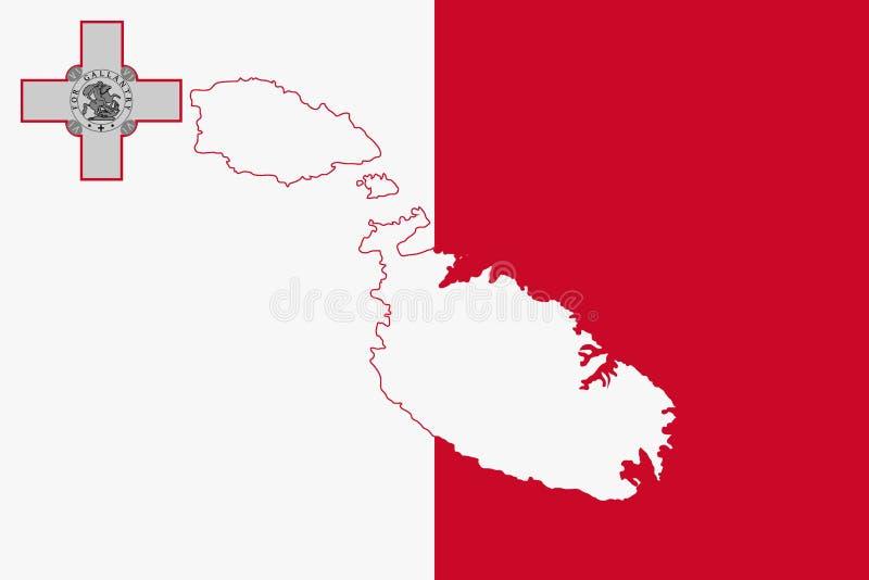 马耳他地图和旗子  皇族释放例证