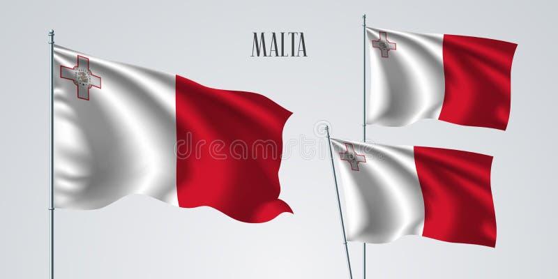 马耳他挥动的旗子套传染媒介例证 白色红色 库存例证