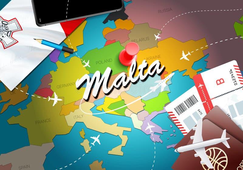 马耳他旅行概念与飞机,票的地图背景 参观马耳他旅行和旅游业目的地概念 在地图的马耳他旗子 向量例证