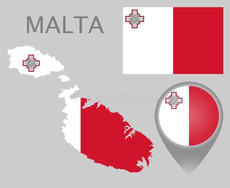 马耳他旗子、地图和地图尖 皇族释放例证