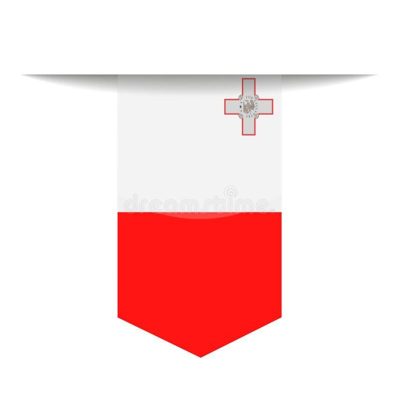 马耳他旗子传染媒介书签象 库存例证