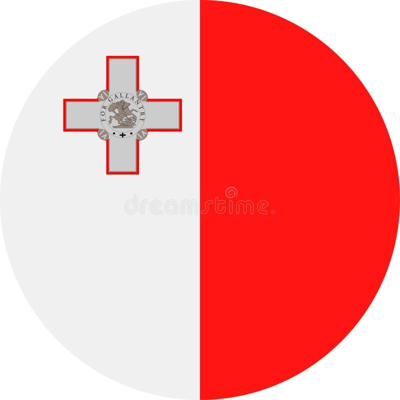 马耳他旗子传染媒介圆的平的象 向量例证