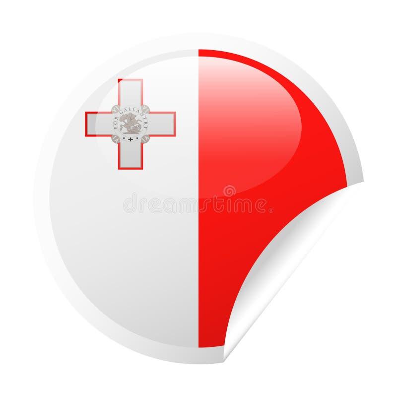 马耳他旗子传染媒介圆角落纸象 向量例证