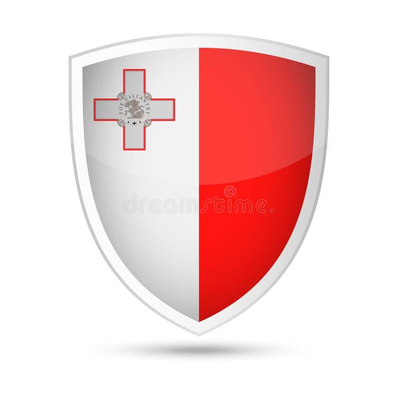 马耳他旗子传染媒介盾象 向量例证