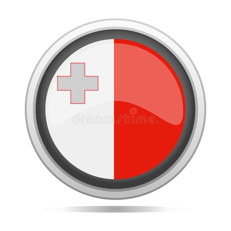 马耳他旗子圆的金属标志设计城市传染媒介艺术 库存例证