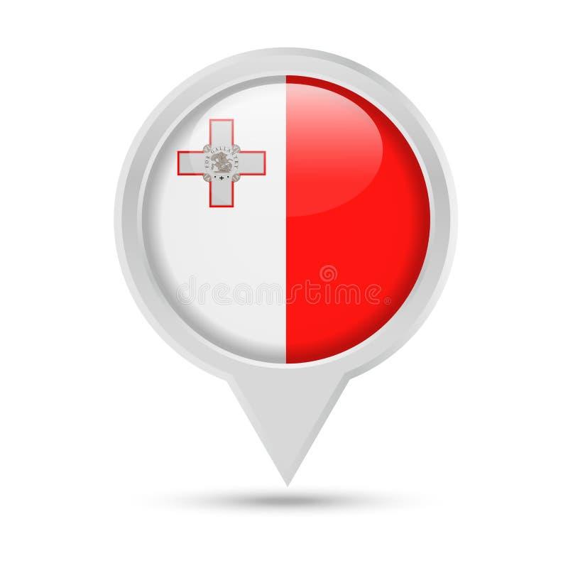 马耳他旗子圆的Pin传染媒介象 库存例证