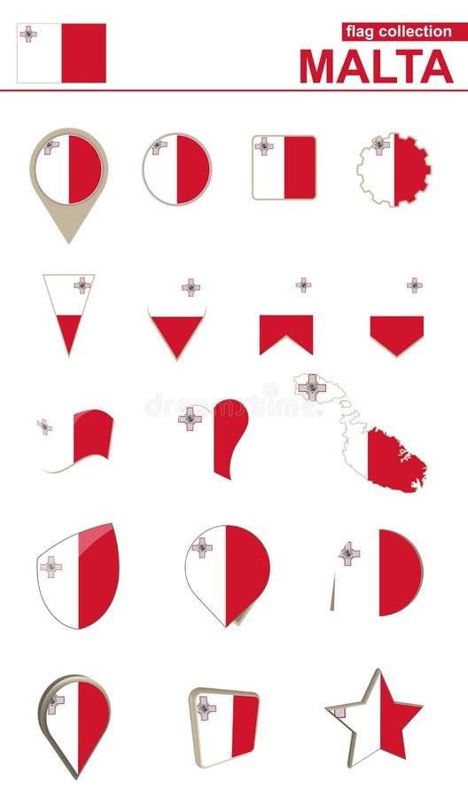 马耳他旗子汇集 设计的大集合 向量例证