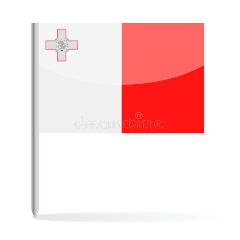 马耳他旗子Pin传染媒介象 向量例证