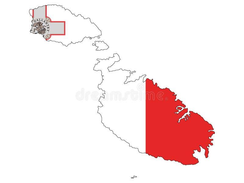 马耳他联合的地图和旗子  皇族释放例证
