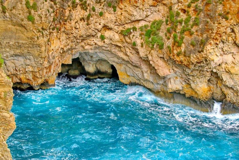 马耳他蓝色洞穴 库存图片