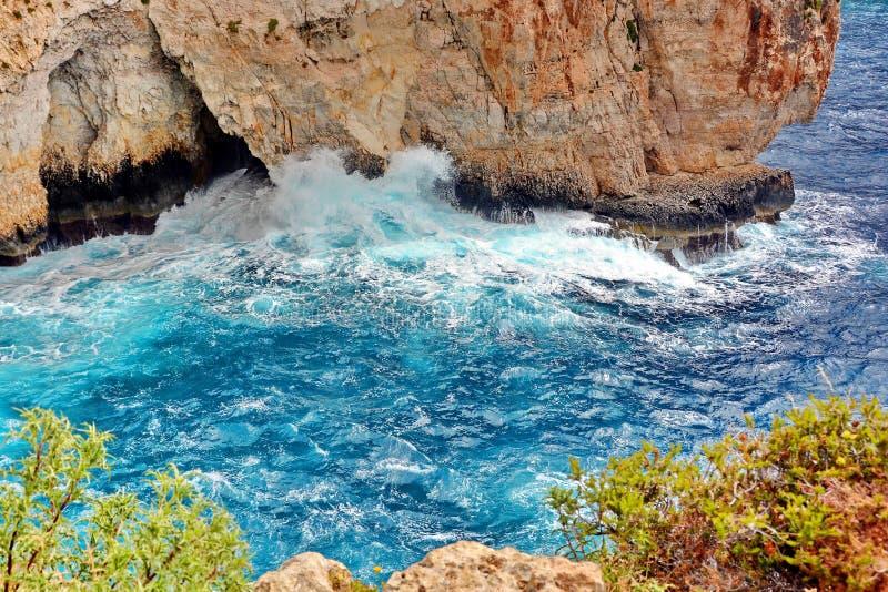 马耳他蓝色洞穴 库存照片