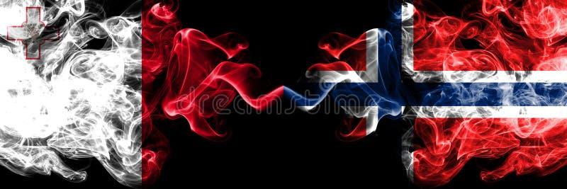 马耳他,马尔他,挪威,挪威竞争厚实的五颜六色的发烟性旗子 欧洲橄榄球资格比赛 免版税库存图片