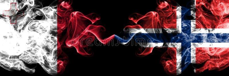 马耳他,马尔他,挪威,挪威语,轻碰竞争厚实的五颜六色的发烟性旗子 欧洲橄榄球资格比赛 免版税图库摄影
