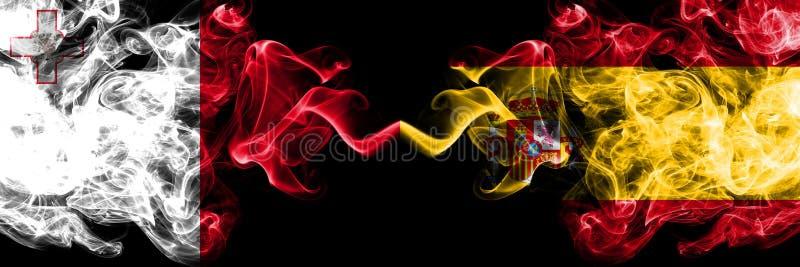 马耳他,马尔他,西班牙,西班牙竞争厚实的五颜六色的发烟性旗子 欧洲橄榄球资格比赛 免版税图库摄影