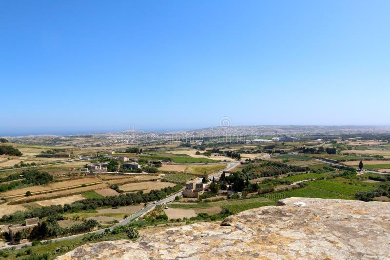 马耳他乡下风景从上面 库存照片