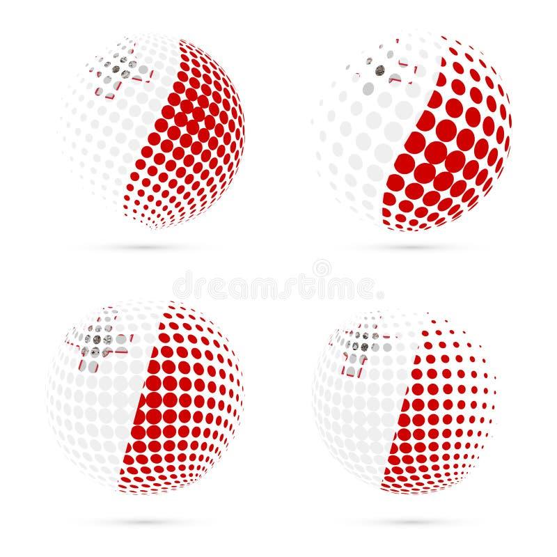 马耳他半音旗子集合爱国传染媒介设计 库存例证