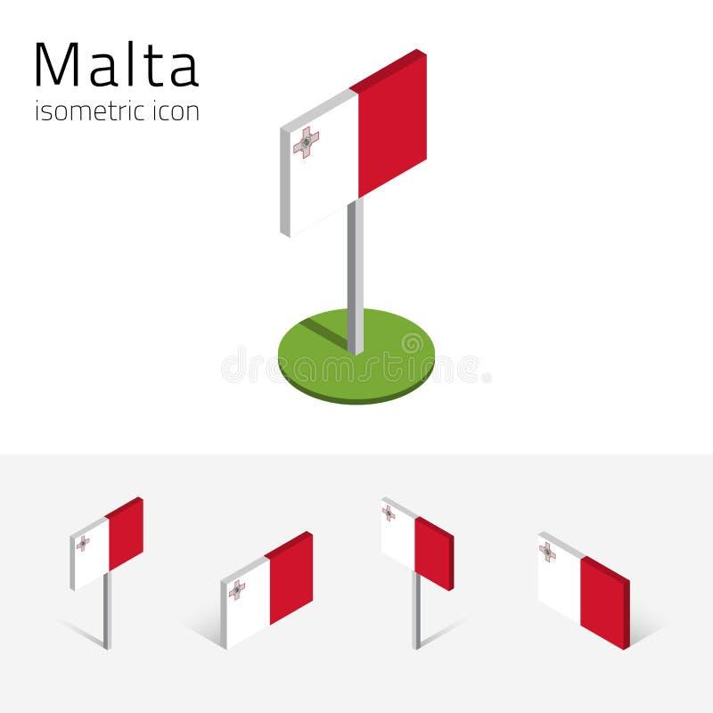 马耳他旗子, 3D等量象传染媒介套共和国  皇族释放例证