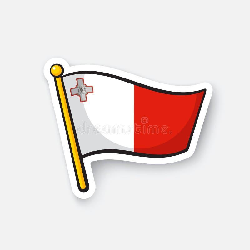 马耳他贴纸旗子旗竿的 皇族释放例证