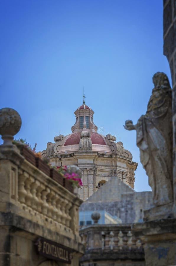 马耳他,姆迪纳,沈默城市 库存照片