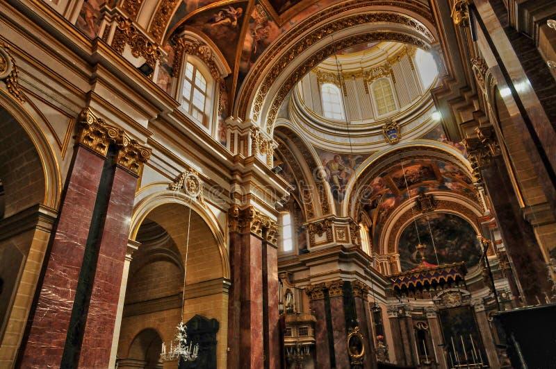 马耳他, mdina美丽如画的大教堂  免版税库存图片