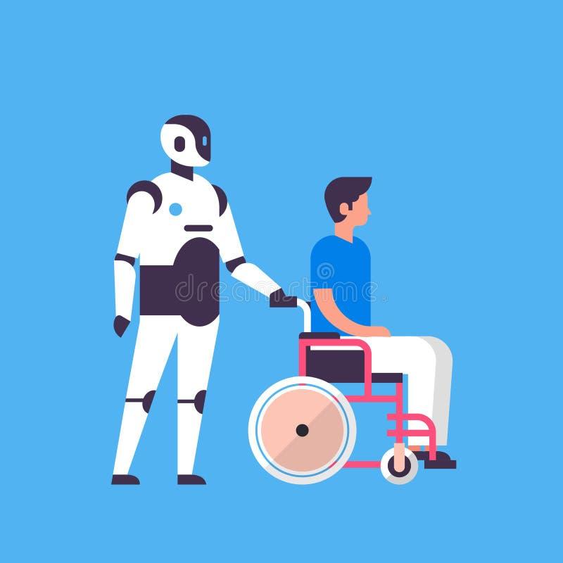 马胃蝇蛆帮手举行人轮椅卫生保健个人助手闲谈泡影通信人为机器人的字符 库存例证