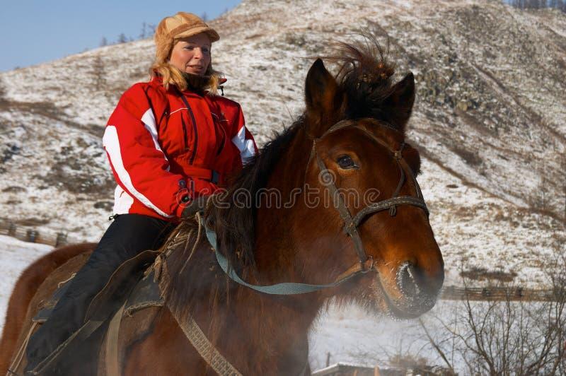 马背妇女 免版税库存图片