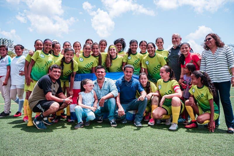 马萨亚省,尼加拉瓜 5?19? 卡里略从哥斯达黎加的足球俱乐部结束与拉康塞普西翁队的友好的比赛 图库摄影