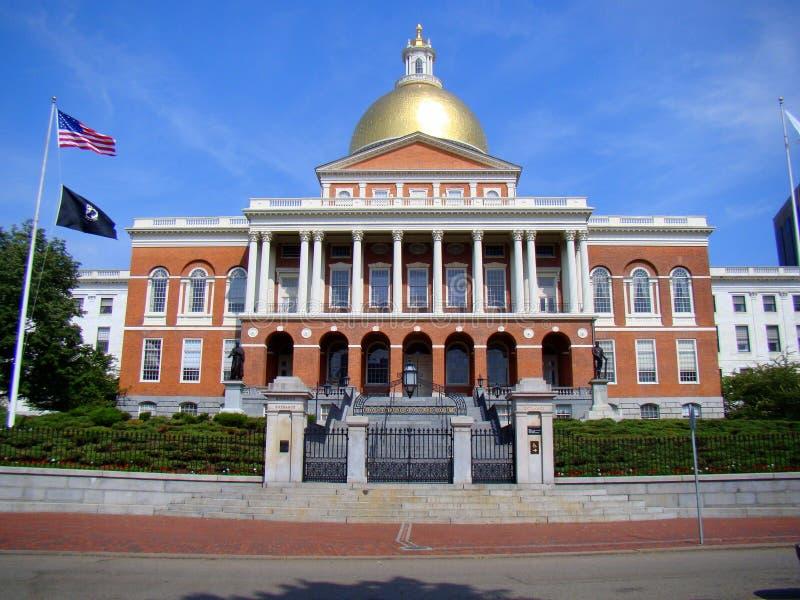 马萨诸塞状态之家,波士顿的正面图 免版税库存图片