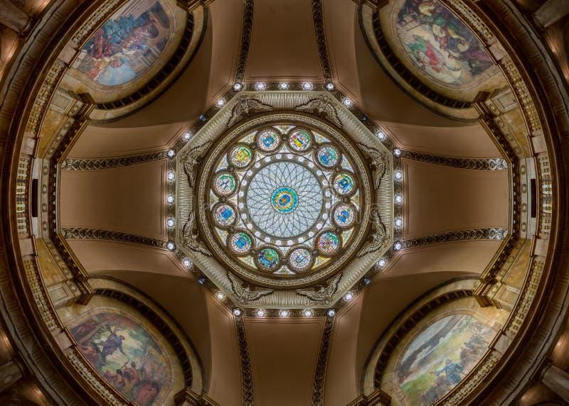 马萨诸塞状态议院内在圆顶 图库摄影