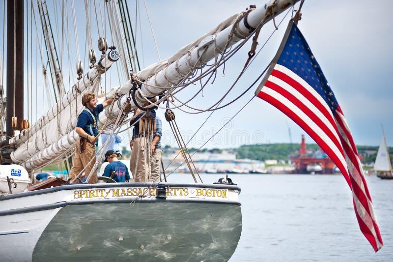 马萨诸塞的高船精神码头的。 库存照片