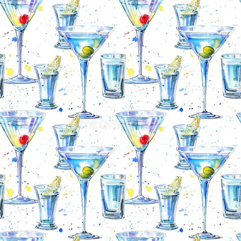 马蒂尼鸡尾酒的无缝的样式用橄榄和樱桃和伏特加酒和柠檬 向量例证