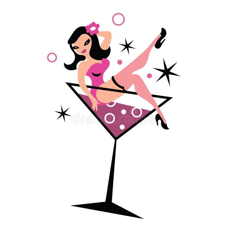 马蒂尼鸡尾酒玻璃的俏丽的妇女 库存例证
