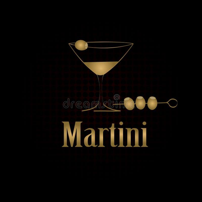 马蒂尼鸡尾酒玻璃设计菜单背景 向量例证