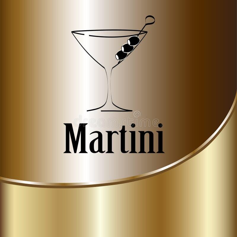 马蒂尼鸡尾酒玻璃设计菜单背景 皇族释放例证