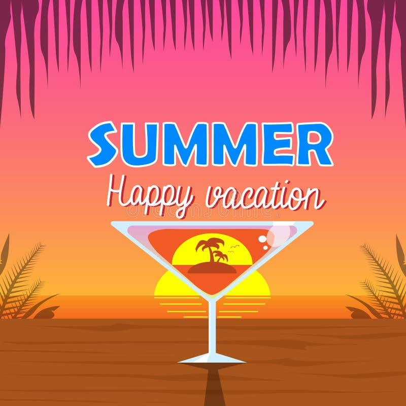 马蒂尼鸡尾酒玻璃鸡尾酒棕榈树里面在热带日落背景海边假期 皇族释放例证