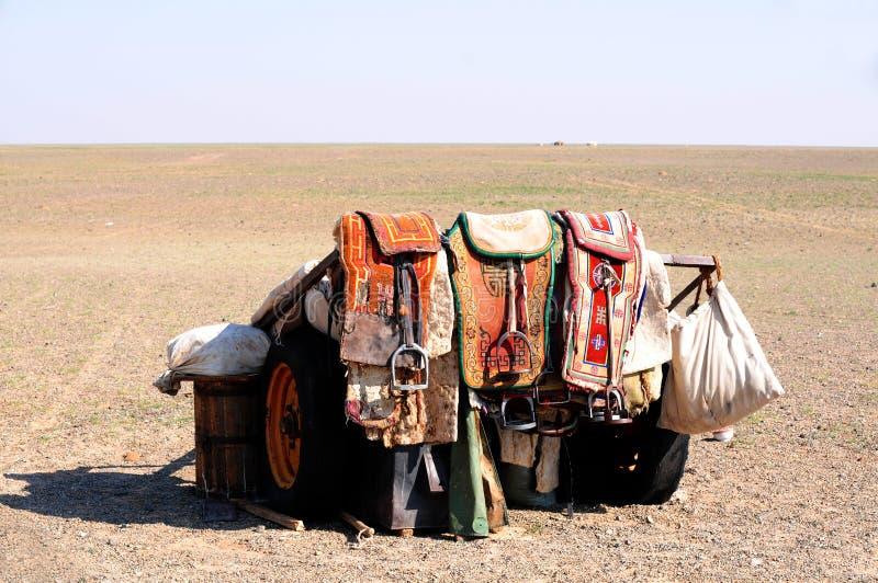 马蒙古游牧人马鞍 免版税库存照片