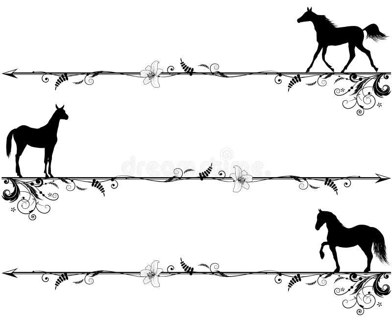 马设置了装饰图案 库存例证