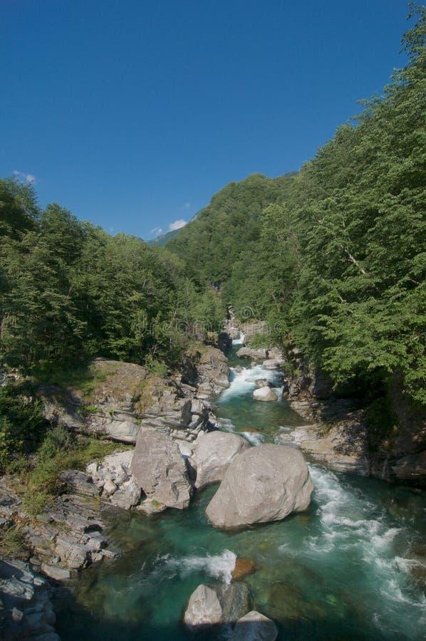 马贾河美丽的景色提契诺州,瑞士小行政区的  库存图片