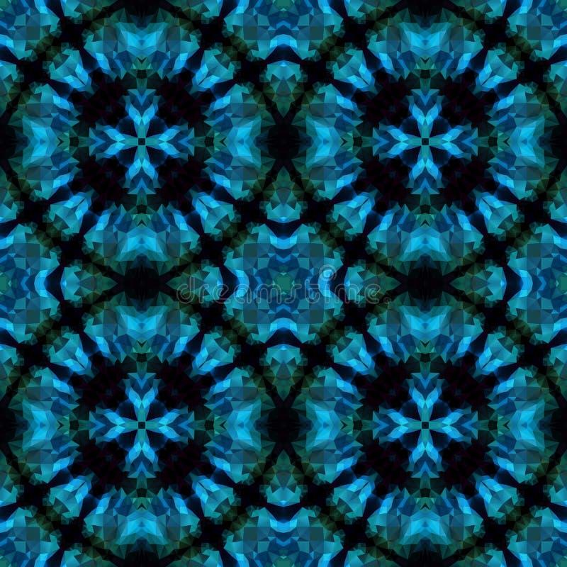 马赛克万花筒无缝的样式背景-蓝色和绿松石上色与与十字架的四个圆环在中部 皇族释放例证