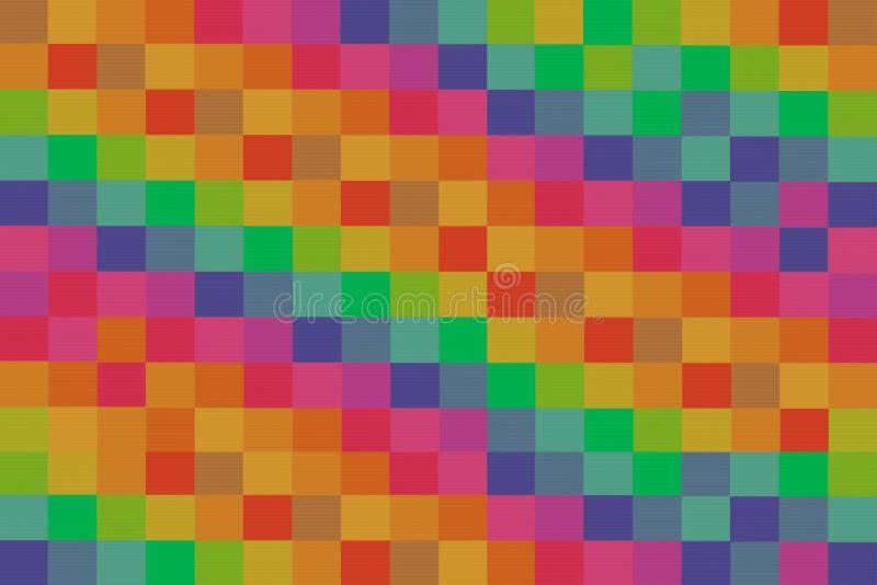 马赛克五颜六色的明亮的帆布背景摘要帆布明亮的倾斜的行连贯绿色黄色红色 皇族释放例证