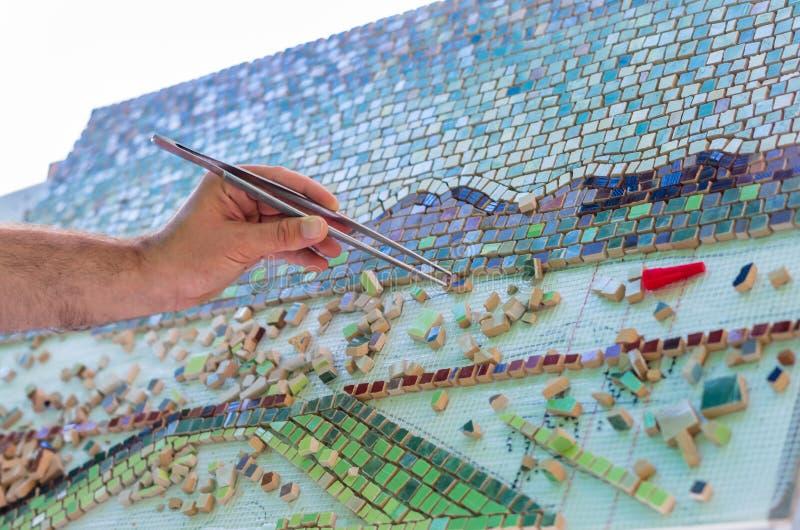 马赛克作为陶瓷或陶瓷马赛克 免版税图库摄影
