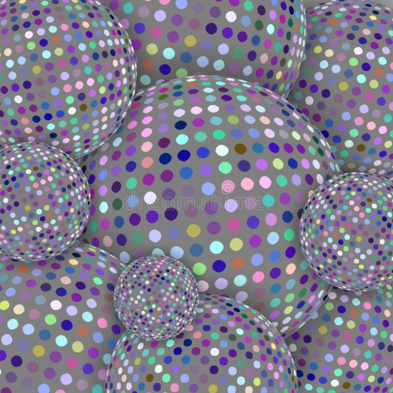 马赛克创造性的球形3d背景 现代灰色几何样式 库存例证