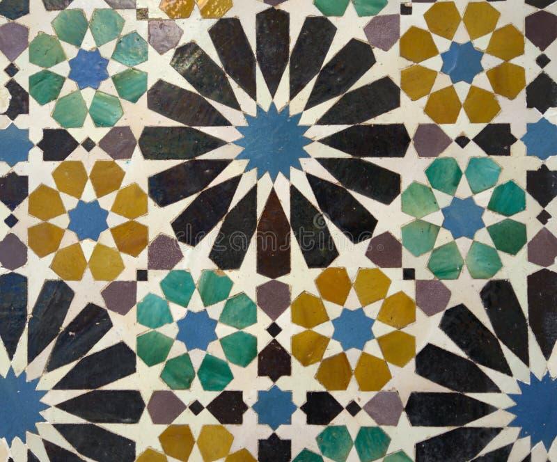 马赛克在阿尔罕布拉宫宫殿,格拉纳达,西班牙 免版税库存图片