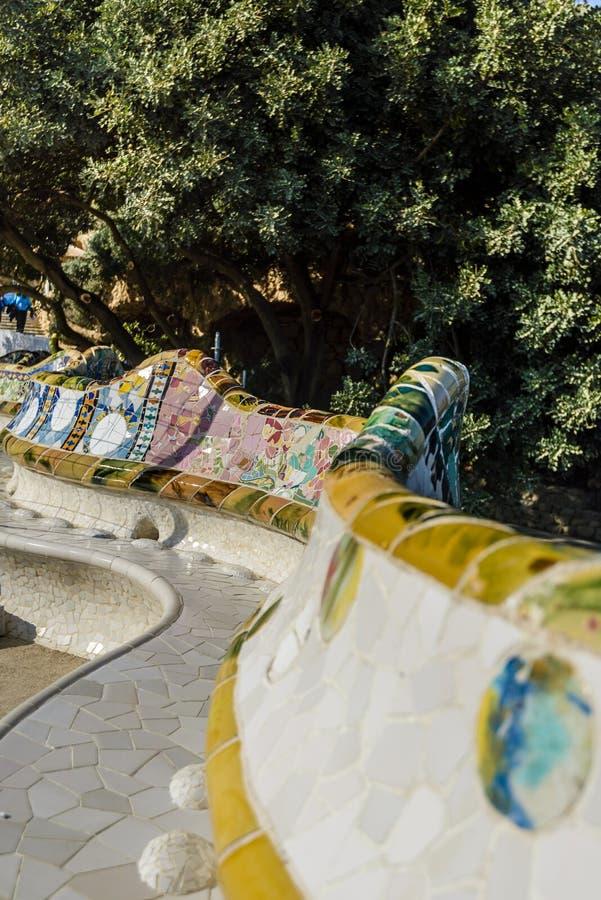 马赛克在Parc Guell,巴塞罗那,西班牙 库存图片