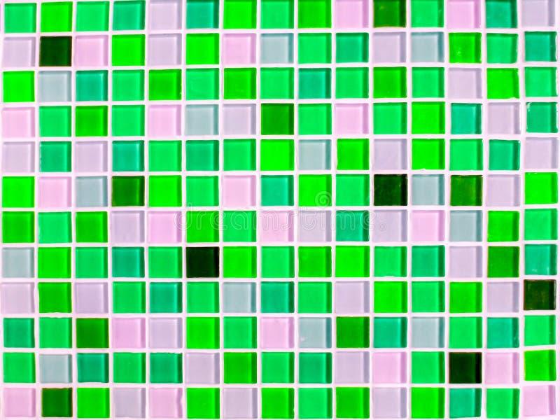 马赛克墙壁瓦片蓝绿色音色特写镜头 库存图片